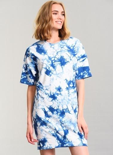 Agenda Batik Yıkamalı Elbise Mavi